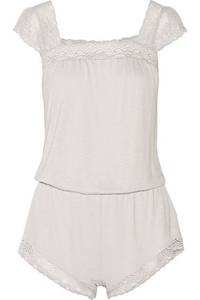 EBERJEY Cecilia lace-trimmed stretch-jersey playsuit