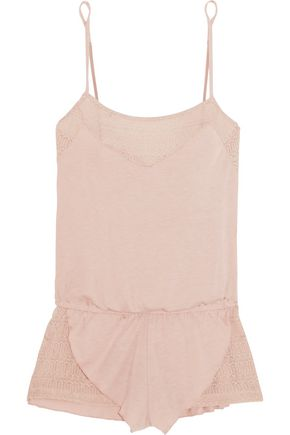 EBERJEY Teddy crochet-paneled stretchy-jersey playsuit