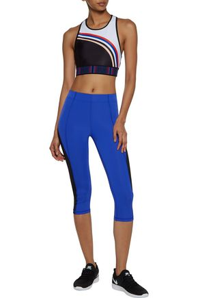 P.E NATION Color-block jersey and stretch-knit sports bra