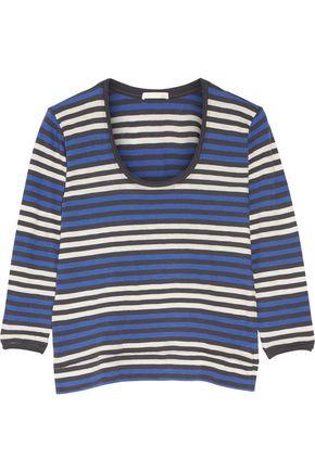 SKIN Brigitte striped cotton-jersey pajama top