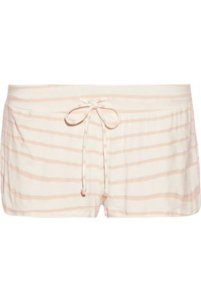 EBERJEY Striped stretch-jersey pajama shorts