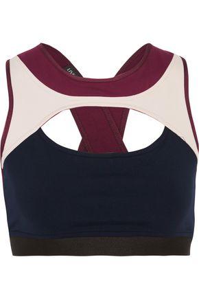 LIVE THE PROCESS Cutout color-block stretch sports bra
