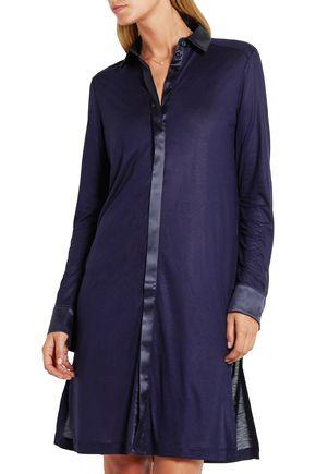LA PERLA Morgane silk satin-trimmed stretch-jersey nightshirt
