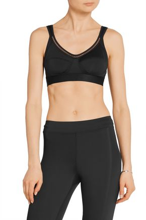 ADIDAS by STELLA McCARTNEY Mesh-trimmed stretch-jersey sports bra