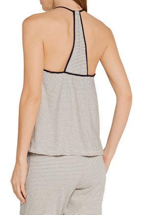 EBERJEY Naval striped cotton-blend pajama top
