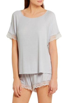 EBERJEY Lace-trimmed ribbed jersey pajama top