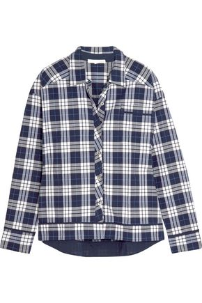 SKIN Plaid Pima cotton pajama shirt