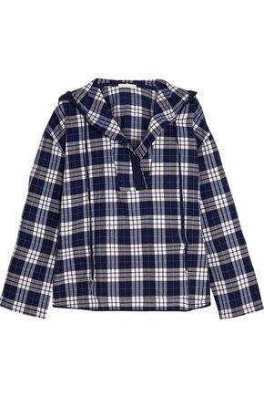 SKIN Hooded plaid Pima cotton pajama top