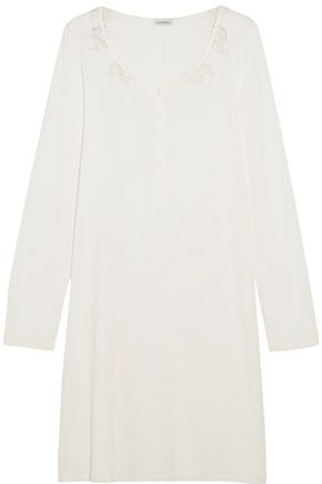 LA PERLA Primula guipure lace-paneled stretch-modal nightdress