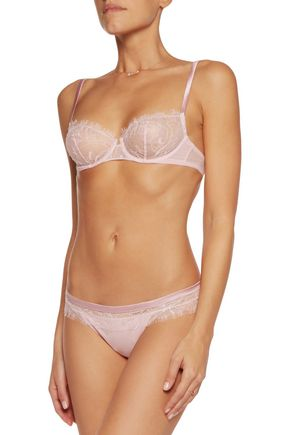 LA PERLA Merveille lace, stretch-georgette and satin briefs