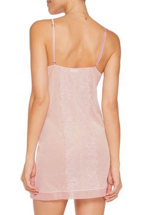 LA PERLA Merveille lace-paneled tulle chemise