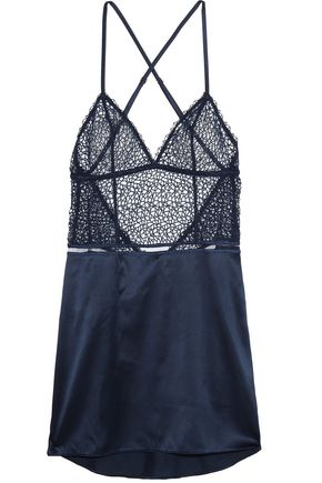LA PERLA Circles guipure lace and stretch-silk satin chemise