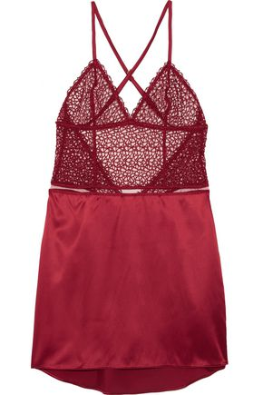 LA PERLA Circles silk-satin blend and embroidered mesh chemise