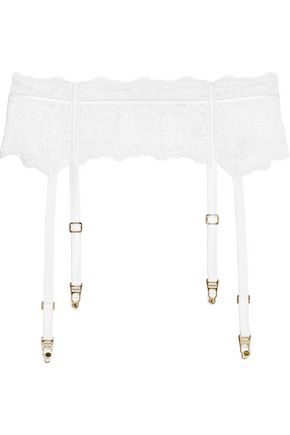 LA PERLA Edenic satin-trimmed stretch-jersey and corded lace suspender belt