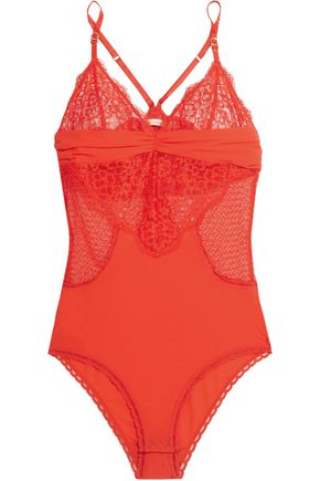 STELLA McCARTNEY Meg Alluring stretch-lace and Swiss-dot jersey bodysuit