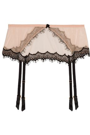 MIMI HOLLIDAY by DAMARIS Bisou Bisou Zoo silk-blend tulle and lace suspender belt