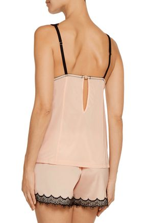 MIMI HOLLIDAY by DAMARIS Bisou Bisou Zoo stretch-silk satin and lace camisole