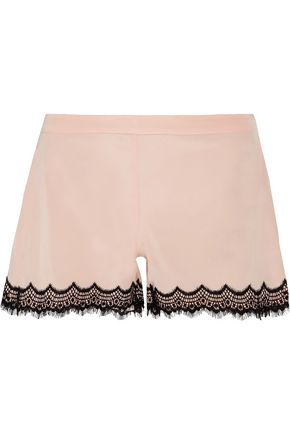 MIMI HOLLIDAY by DAMARIS Bisou Bisou Zoo stretch-silk satin and lace pajama shorts