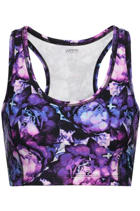YUMMIE by HEATHER THOMSON® Printed stretch-cotton jersey sports bra