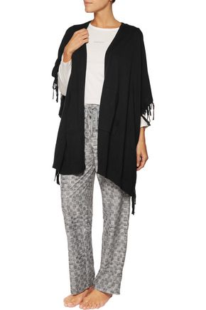 DKNY Fringed cotton-blend poncho