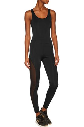 PURITY ACTIVE Mesh-trimmed cutout stretch bodysuit
