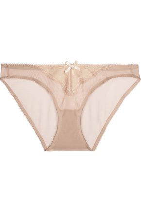 HEIDI KLUM INTIMATES Low-rise lace-trimmed stretch-tulle briefs