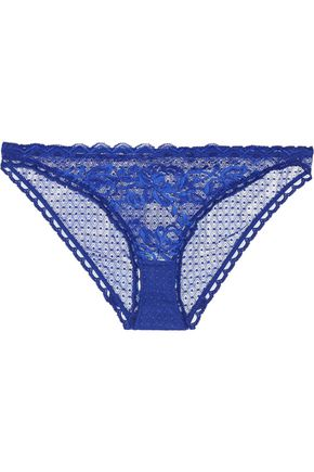 STELLA McCARTNEY Suzie Doting low-rise Leavers lace-trimmed stretch-mesh briefs