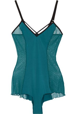 COSABELLA Williamsburg flocked mesh-paneled jersey bodysuit