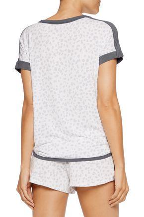 DKNY Printed stretch-modal pajama top
