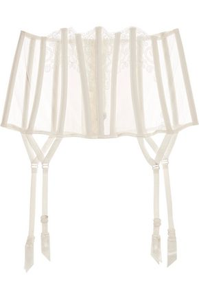 LA PERLA Light And Shadow lace and point d'esprit suspender belt