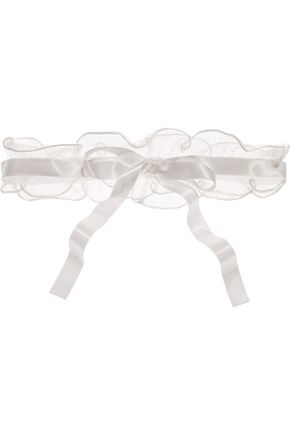 LA PERLA Light And Shadow satin-trimmed point d'esprit garter