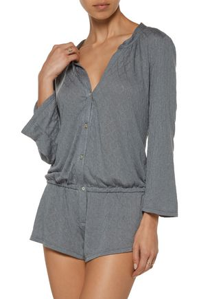 EBERJEY Earl embroidered modal-blend playsuit