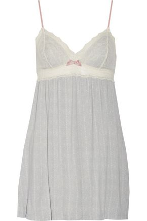 EBERJEY Secret Attic lace-paneled stretch-modal chemise