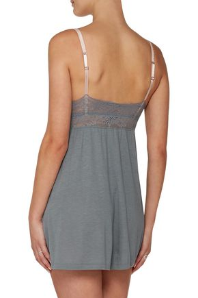 EBERJEY Michaela lace-trimmed jersey chemise