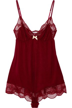 EBERJEY Estelle Teddy stretch-lace and jersey playsuit