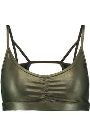 KORAL Ruched cutout stretch sports bra
