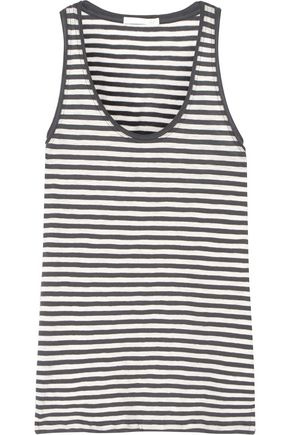 SKIN Kathie striped cotton-jersey pajama top