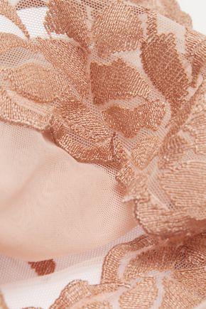 LA PERLA Morgane embroidered tulle and stretch-satin briefs