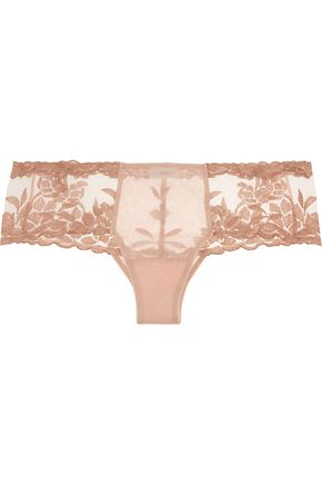 LA PERLA Morgane embroidered tulle and stretch-satin briefs