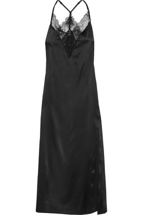 LA PERLA Merveille lace-trimmed silk-blend satin nightdress
