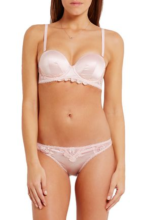 STELLA McCARTNEY Kate Kissing lace-trimmed stretch-silk and point d'esprit strapless bra