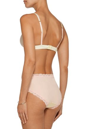MIMI HOLLIDAY Spin lace-trimmed satin soft-cup traingle bra