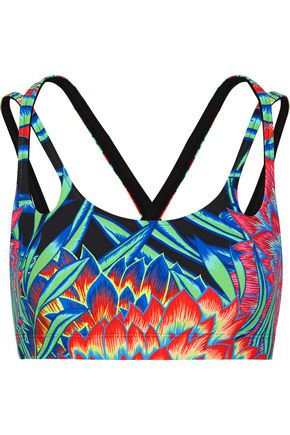 MARA HOFFMAN Printed stretch-jersey sports bra