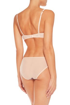 MIMI HOLLIDAY by DAMARIS Low-rise embroidered lace-paneled stretch-tulle briefs