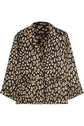 EQUIPMENT + Kate Moss Lake leopard-print washed-silk pajama shirt
