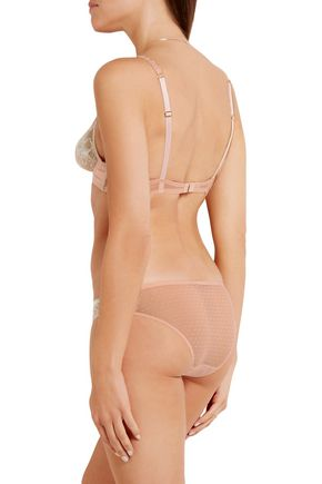 STELLA McCARTNEY Julia Stargazing Leavers lace, satin and Swiss-dot tulle demi-wire bra