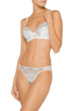 MIMI HOLLIDAY by DAMARIS Embroidered lace and tulle underwired plunge bra