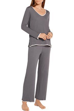 SKIN Layered Pima cotton pajama pants