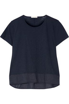 SKIN Cara voile-trimmed slub cotton-jersey pajama top