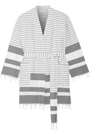 SKIN Tasseled striped cotton robe